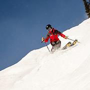 Tete Altamiranda demostrates how ski steep terrain.