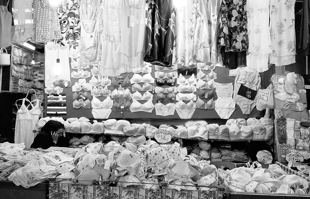 A lingery shop in the local bazaar, selling bra's and other underwear. Tehran, Iran, 2007