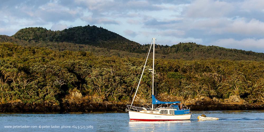 Yacht Ilyushin, making an early morning departure from Islington Bay,  Hauraki Gulf, Auckland.
