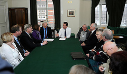 © under license to London News Pictures. FILE PICTURE Members of the pressure group Cure the NHS photographed on 2nd February 2010 in a meeting with David Cameron at his offices in Whitehall. The pressure group led by Julie Bailey campaigned for a public enquiry looking at conditions at Stafford Hospital.  They handed in a petition to then Health Secretary, Andy Burnham. ..A public inquiry will begin today (08/11/10) into failings at an NHS hospital criticised for routinely neglecting patients and providing appalling standards of care..