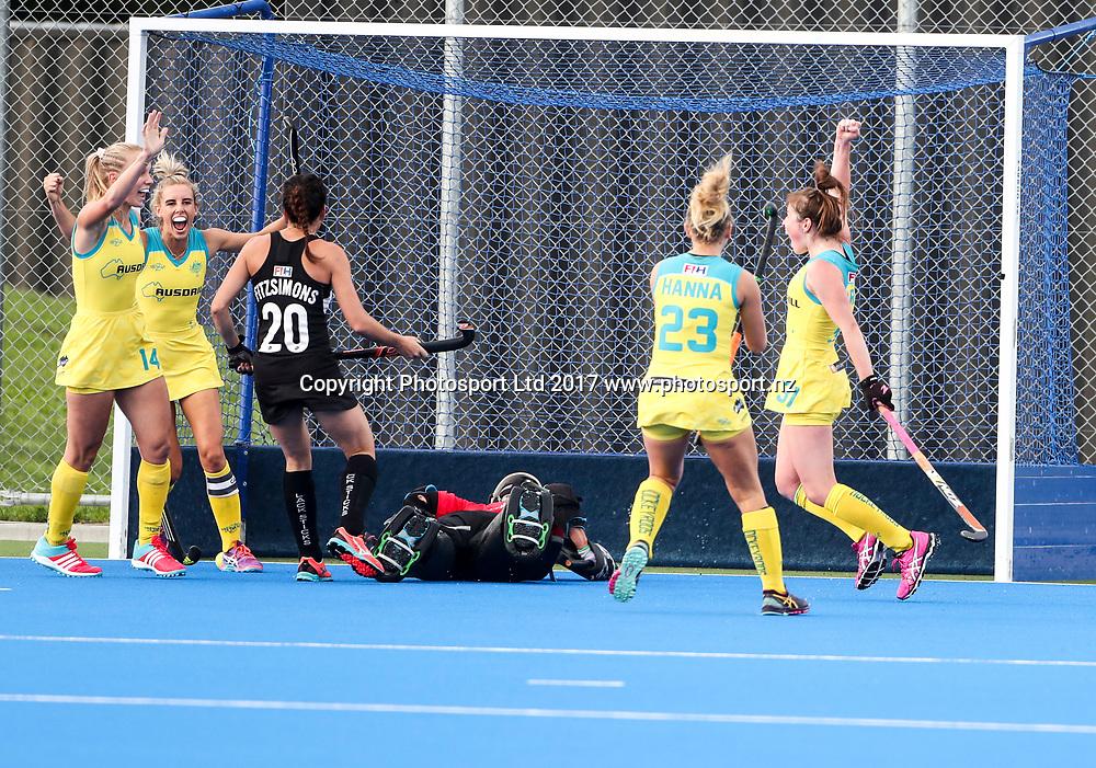 Australia celebrate their goal. Black Sticks Women v Australia. Festival of Hockey, Unison Hockey turf, Hastings, New Zealand. Saturday, 01 April, 2017. Copyright photo: John Cowpland / www.photosport.nz