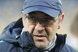 March 13, 2019 - Kiev, Ukraine - Chelsea manager MAURIZIO SARRI attends a trainning session of his team on the Olimpiyskiy stadium in Kiev, Ukraine, on 13 March 2019. Chelsea will face Dynamo Kyiv in the UEFA Europa League, second leg soccer match in Kiev on 14 March 2019. (Credit Image: © Serg Glovny/ZUMA Wire)