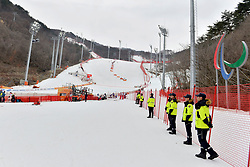 Behind the scenes, Les Coulisses at the ParaSkiAlpin, Para Alpine Skiing, Slalom during the PyeongChang2018 Winter Paralympic Games, South Korea.