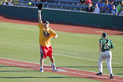 "29 July 2017: Mitch ""Wild Thing"" Williams gets the put out throw ahead of batter/runner Marc Strauss  - Legends Baseball game sponsored by the Normal CornBelters at Corn Crib Stadium on the campus of Heartland Community College in Normal Illinois"