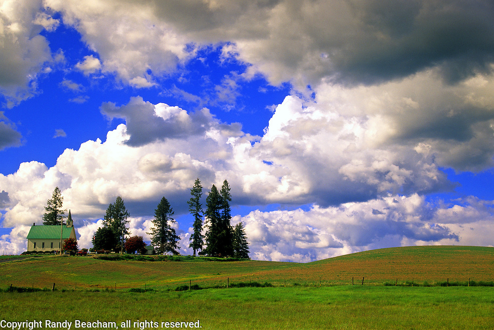 Church and farmland in the Palouse country near Tense, Idaho