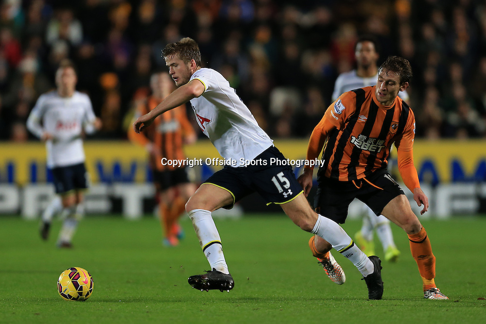 23rd November 2014 - Barclays Premier League - Hull City v Tottenham Hotspur - Eric Dier of Spurs gets away from Nikica Jelavic of Hull - Photo: Simon Stacpoole / Offside.