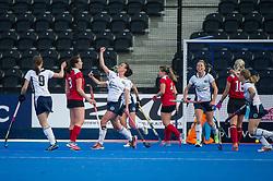 East Grinstead's Bridget Blackwood celebrates scoring. East Grinstead v Holcombe - Semi-Final - Investec Women's Hockey League Finals, Lee Valley Hockey & Tennis Centre, London, UK on 22 April 2017. Photo: Simon Parker