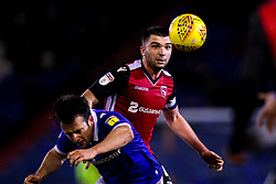 Alex Kenyon of Morecambe challenges Jose Baxter of Oldham Athletic - Mandatory by-line: Robbie Stephenson/JMP - 19/02/2019 - FOOTBALL - Boundary Park - Oldham, England - Oldham Athletic v Morecambe - Sky Bet League Two