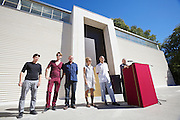 """13th Biennale of Architecture..Giardini..Austrian Pavillion..Wolfgang Tschapeller, Rens Veltman, Martin Perktold, """"hands have no tears to flow..."""", 2012..Opening ceremony..From r.: Comissioner Arno Ritter, Wolfgang Tschapeller and some members of their team."""
