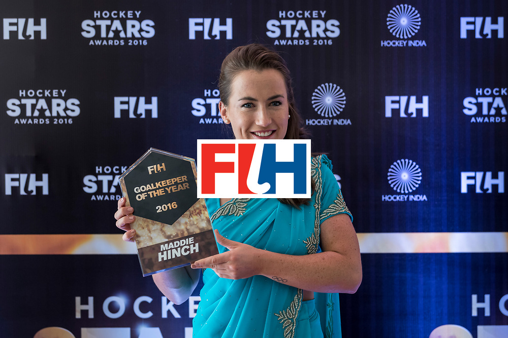 CHANDIGARH, INDIA - FEBRUARY 23: FIH Female Player of the Year Maddie Hinch of England and Great Britain poses for a picture during the FIH Hockey Stars Awards 2016 at Lalit Hotel on February 23, 2017 in Chandigarh, India. (Photo by Ali Bharmal/Getty Images for FIH)