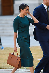 Meghan Markle, The Duchess of Sussex, arrives to meet the Taoiseach, Leo Varadkar, at the Government Buildings in Dublin, Ireland. Picture date: Wednesday July 10th, 2018. Photo credit should read: Matt Crossick/ EMPICS Entertainment.