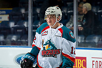 KELOWNA, CANADA - MARCH 13:  Cole Carrier #12 of the Kelowna Rockets warms up against the Spokane Chiefs on March 13, 2019 at Prospera Place in Kelowna, British Columbia, Canada.  (Photo by Marissa Baecker/Shoot the Breeze)