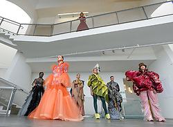 Pictured: designs by students (left to right): Inga Keralerova, Franz Maggs, Nour Daher, Juexin. Zhang, Qianyu Zhu and Rongqing Wang.<br /> <br /> Students studying fashion design at Glasgow School of Art previewed their work before their annual degree show.<br /> <br /> © Dave Johnston / EEm