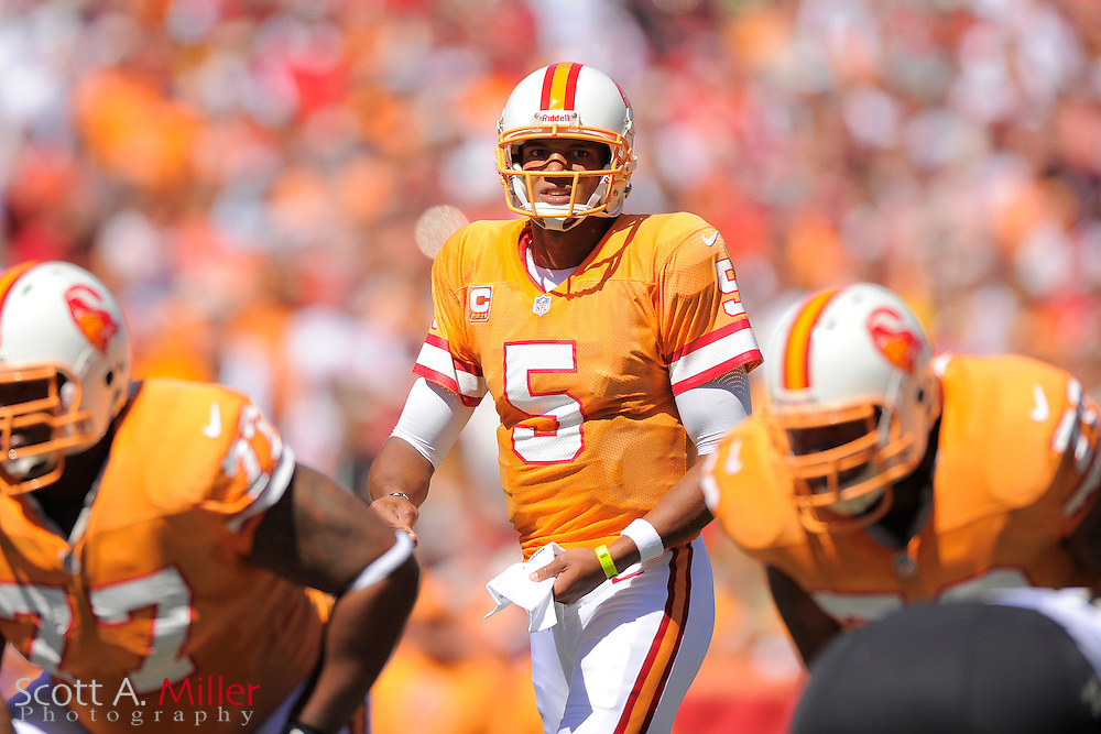 Tampa Bay Buccaneers quarterback Josh Freeman (5) during the Bucs game against the New Orleans Saints at Raymond James Stadium  on Oct. 21, 2012 in Tampa, Florida. ...©2012 Scott A. Miller...