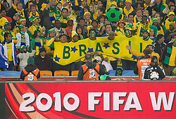 Brazil fans during the 2010 FIFA World Cup South Africa Group G Second Round match between Brazil and République de Côte d'Ivoire on June 20, 2010 at Soccer City Stadium in Soweto, suburban Johannesburg, South Africa. (Photo by Vid Ponikvar / Sportida)
