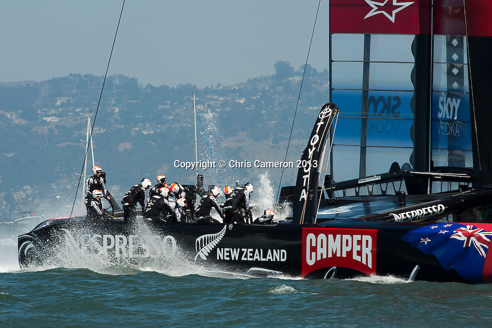 Emirates Team New Zealand loses race eight to Oracle Team USA.  Day five of the America's Cup 34. 14/9/2013