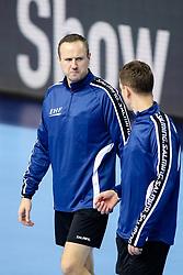 Gatelis Mindaugas and Mazeika Vaidas, EHF referees during handball match between National teams of Belarus and France on Day 4 in Preliminary Round of Men's EHF EURO 2018, on January 16, 2018 in Arena Zatika, Porec, Croatia. Photo by Morgan Kristan<br />  / Sportida