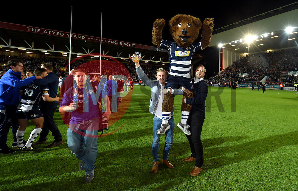 Brizzley bear is held aloft - Mandatory byline: Joe Meredith/JMP - 25/05/2016 - RUGBY UNION - Ashton Gate Stadium - Bristol, England - Bristol Rugby v Doncaster Knights - Greene King IPA Championship Play Off FINAL 2nd Leg.