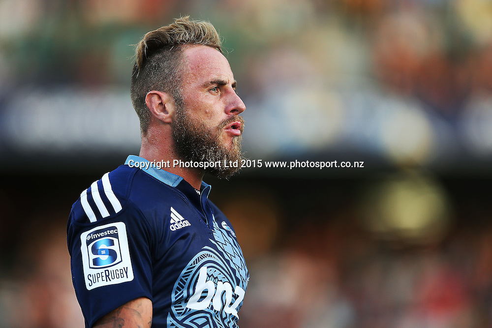 Jimmy Cowan of the Blues looks on. Super Rugby match, Blues v Chiefs at QBE Stadium, Auckland, New Zealand. Saturday 14 February 2015. Photo: Anthony Au-Yeung / www.photosport.co.nz