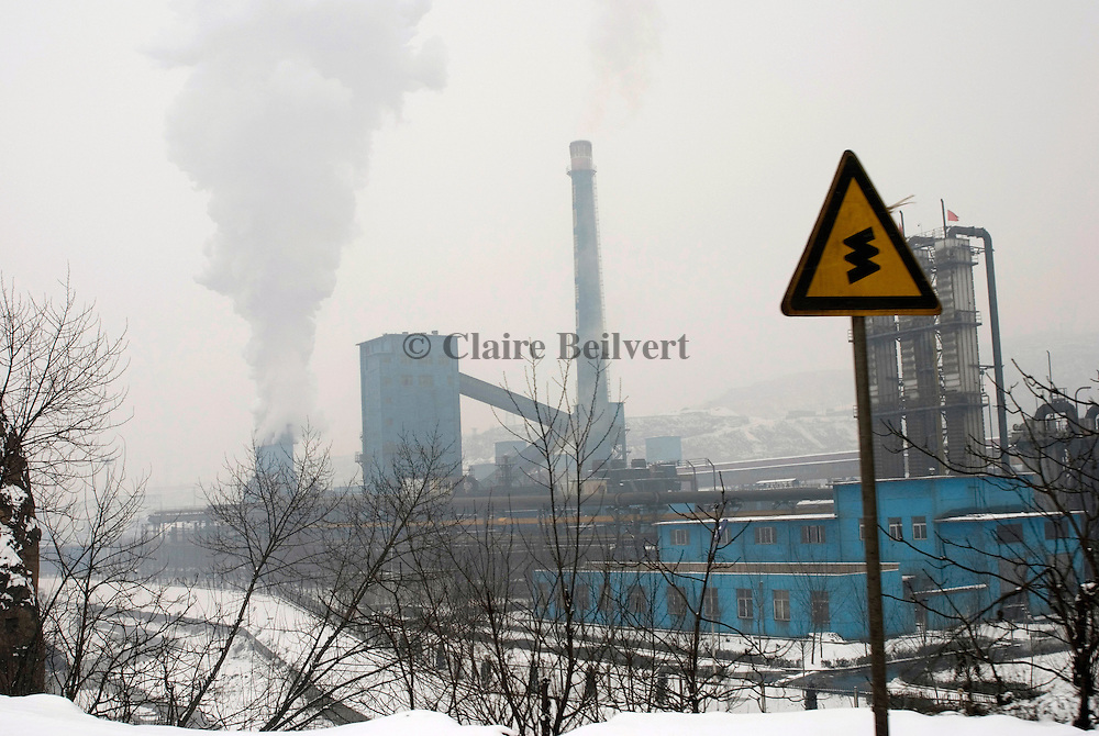 Smoke rise from a coal power plant. Shanxi Province is China's largest coal supplier: 500 millions of tonnes per year. This Province is also the most polluted of China. Polluting enterprises are mainly in industrial sectors such as coal, power, metallurgy, chemistry, coking and building materials.