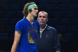 November 16, 2018 - London, United Kingdom - Alexander Zverev talks with his coach Ivan Lendl (R) during training session during Day Six of the Nitto ATP Finals at The O2 Arena on November 16, 2018 in London, England. (Credit Image: © Alberto Pezzali/NurPhoto via ZUMA Press)