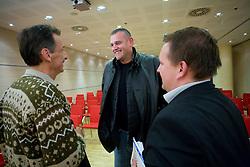 """Miha Zibrat, Mario Kraljevic in Matej Avanzo na okrogli mizi na temo """"Slovenska kosarka - le kos do svetovnega vrha?"""" v organizaciji SportForum Slovenija, 19. oktober 2009, Austria Trend Hotel, Ljubljana, Slovenija. (Photo by Vid Ponikvar / Sportida)"""