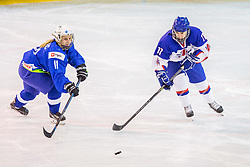 Merc Pia of Slovenia and Herbert Sophie of Great Britain during hockey match between Slovenia and Great Britain in IIHF World Womens Championship, Division II, Group A, on April 4, 2018 in Ledena dvorana Maribor, Maribor, Slovenia. Photo by Ziga Zupan / Sportida