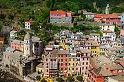 The town of Vernazza from Doria Castle, Cinque Terre, Liguria, Italy