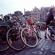 Bicycles are a major source of transportation in Brugge, Belgium. Bicycle racks are packed near the center of town.©Ed Hille / Picturedesk.net.ONE TIME USE ONLY