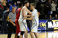 February 1, 2018 - Johnson City, Tennessee - Freedom Hall: ETSU center Karl Overstreet (34), ETSU guard Dillon Reppart (23)<br /> <br /> Image Credit: Dakota Hamilton/ETSU