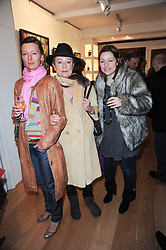 Left to right, JOANNA SIM, ISABELLA HILDYARD and ALEXIA ZOGRAPHOS at a private view of recent paintings, drawings and prints by Dione Verulam (Countess of Verulam) held at Sladmore Contemporary art gallery, 32 Bruton Place, London on 10th February 2010.