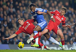 20.11.2011, Stamford Bridge Stadion, London, ENG, PL, FC Chelsea vs FC Liverpool, 12. Spieltag, im Bild Liverpool's Daniel Agger and Lucas in action against Chelsea's Didier Drogba during the football match of English premier league, 12th round, between FC Chelsea and FC Liverpool at Stamford Bridge Stadium, London, United Kingdom on 20/11/2011. EXPA Pictures © 2011, PhotoCredit: EXPA/ Sportida/ Chris Brunskill..***** ATTENTION - OUT OF ENG, GBR, UK *****