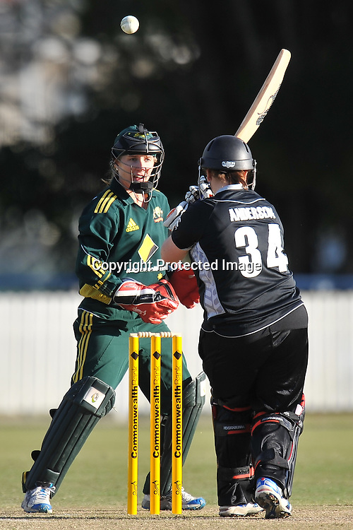Players lose sight of the ball after Kelly Anderson gets a top edge ~ Game 7 (ODI) of the Rose Bowl Trophy Cricket played between Australia and New Zealand at Alan Border Field in Brisbane (Australia) ~ Thursday 16th June 2011 ~ Photo : Steven Hight (AURA Images) / Photosport