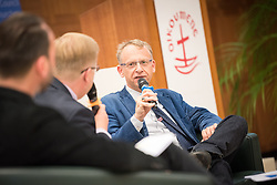 18 September 2017, Geneva, Switzerland: A talkshow format presents a range of programmes and activities of the World Council of Churches, at the Ecumenical Centre in Geneva where the WCC hosts a meeting of member churches' Ecumenical Officers. Here, interview with Owe Boersma.