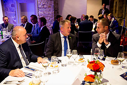 Radenko Mijatovic, Zdravko Pocivalsek and Aleksander Ceferin at Official dinner ahead to the UEFA Futsal EURO 2018 Draw, on September 28, 2017 in Ljubljanski grad, Ljubljana, Slovenia. Photo by Vid Ponikvar / Sportida