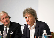 British playwright Tom Stoppard speaks during a media event formally announcing the winners of this year's Praemium Imperiale, a global arts prize that is awarded annually, in Tokyo, Japan on Wed., Oct. 21 2009. Other winners included Britions sculptor Richard Long and architect Zaha Hadid..Photographer: Robert Gilhooly