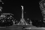 A tribute to the heroes of the Mexican independence, the angel stands 115 feet tall overlooking Paseo de la Reforma in the heart of Mexico City. The statue is lit up at night and the waxing moon is situated nicely behind her.