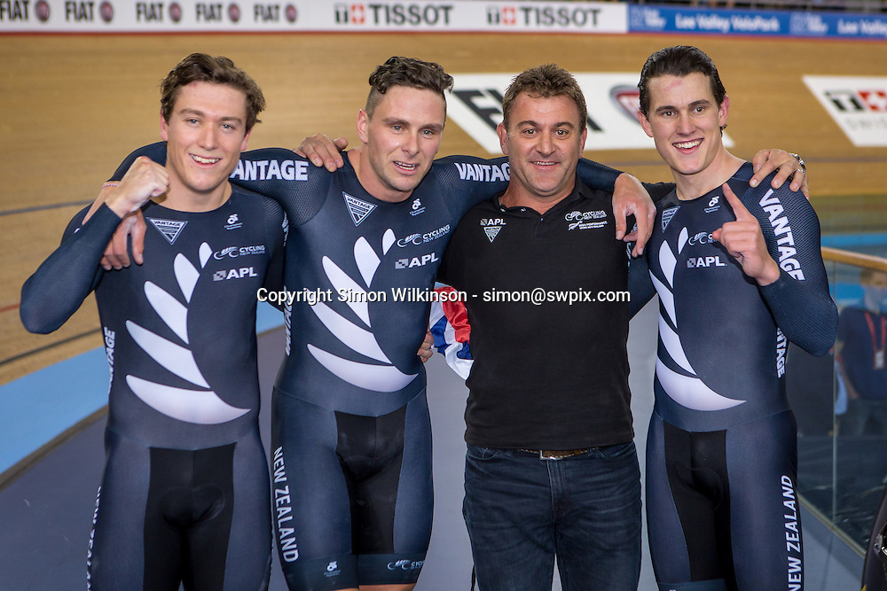 Pictures by SWpix.com - 02/03/2016 - Cycling - 2016 UCI Track Cycling World Championships, Day 1 - Lee Valley VeloPark, London, England - Men's Team Sprint Final - MITCHELL Ethan ,DAWKINS Edward, WEBSTER Sam of New Zealand celebrate victory with coach