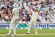 Ben Stokes of England celebrates wildly as he thinks he has taken the wicket of Hardik Pandya of India but is it is give not out on review during second day of the Specsavers International Test Match 2018 match between England and India at Edgbaston, Birmingham, United Kingdom on 2 August 2018. Picture by Graham Hunt.