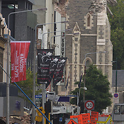 The damaged Christchurch Cathedral after a Powerful earth quake ripped through Christchurch, New Zealand on Tuesday lunch time killing at least 65 people as it brought down buildings, buckled roads and damaged churches and the Cities Cathedral. Photo Tim Clayton