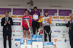 Lucinda Brand (NED) of Rabo-Liv Cycling Team is awarded the overall leader's purple jersey after the 97,1 km second stage of the 2016 Ladies' Tour of Norway women's road cycling race on August 13, 2016 between Mysen and Sarpsborg, Norway. (Photo by Balint Hamvas/Velofocus)