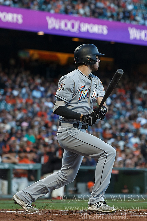 SAN FRANCISCO, CA - JULY 07: JT Riddle #39 of the Miami Marlins hits a two run single against the San Francisco Giants during the first inning at AT&T Park on July 7, 2017 in San Francisco, California. The Miami Marlins defeated the San Francisco Giants 6-1. (Photo by Jason O. Watson/Getty Images) *** Local Caption *** JT Riddle