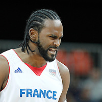 02 August 2012: France Ronny Turiaf reacts during 82-74 Team France victory over Team Lithuania, during the men's basketball preliminary, at the Basketball Arena, in London, Great Britain.