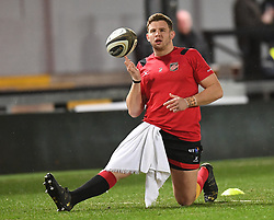 Dragons' Elliot Dee during warm up<br /> <br /> Photographer Mike Jones/Replay Images<br /> <br /> Guinness PRO14 Round Round 18 - Dragons v Cheetahs - Friday 23rd March 2018 - Rodney Parade - Newport<br /> <br /> World Copyright © Replay Images . All rights reserved. info@replayimages.co.uk - http://replayimages.co.uk