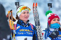 09.12.2017, Biathlonarena, Hochfilzen, AUT, IBU Weltcup Biathlon, Hochfilzen, Damen, Verfolgung, Siegerehrung, im Bild Darya Domracheva (BLR), Dorothea Wierer (ITA) // Darya Domracheva of Belarus, Dorothea Wierer of Italy during the winner ceremony of wommen's Pursuit of BMW IBU Biathlon World Cup at the Biathlonarena in Hochfilzen, Austria on 2017/12/09. EXPA Pictures © 2017, PhotoCredit: EXPA/ JFK