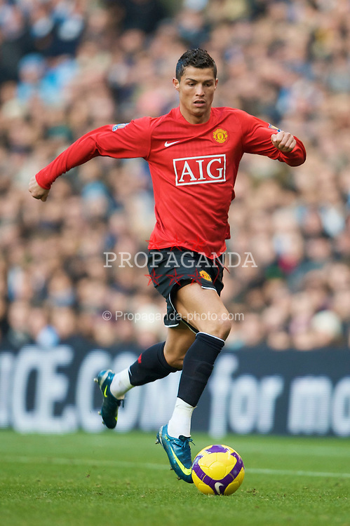MANCHESTER, ENGLAND - Sunday, November 30, 2008: Manchester United's Christian Ronaldo in action against Manchester City during the Premiership match at the City of Manchester Stadium. (Photo by David Rawcliffe/Propaganda)