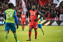 December 9, 2017 - Toronto, Ontario, Canada - Toronto FC forward JOZY ALTIDORE (17) and Seattle Sounders defender ROMAN TORRES (29) during the MLS Cup championship match at BMO Field in Toronto, Canada.  Toronto FC defeats Seattle Sounders 2 to 0. (Credit Image: © Mark Smith via ZUMA Wire)