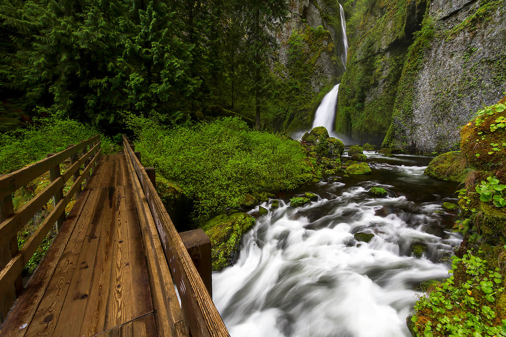 Crossing the bridge over Eagle Creek near Wahclella Falls in the Columbia River Gorge on a rainy Spring morning.