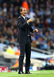 Juventus Manager, Massimilliano Allegri shouts instructions to his players during the UEFA Champions League group stage match between Manchester City and Juventus at the Etihad Stadium - Mandatory byline: Matt McNulty/JMP - 07966386802 - 15/09/2015 - FOOTBALL - Etihad Stadium -Manchester,England - Manchester City v Juventus - UEFA Champions League - Group D