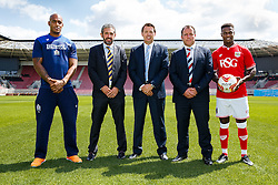 Dribuild sponsor photo. With Bristol Rugby's new signing Tom Varndell, Bristol Sport CEO Andrew Billingham and Bristol City footballer Kieran Agard - Photo mandatory by-line: Rogan Thomson/JMP - 07966 386802 - 09/07/2015 - SPORT - Bristol, England - Ashton Gate Stadium - Bristol Sport Preseason Sponsor Photos.